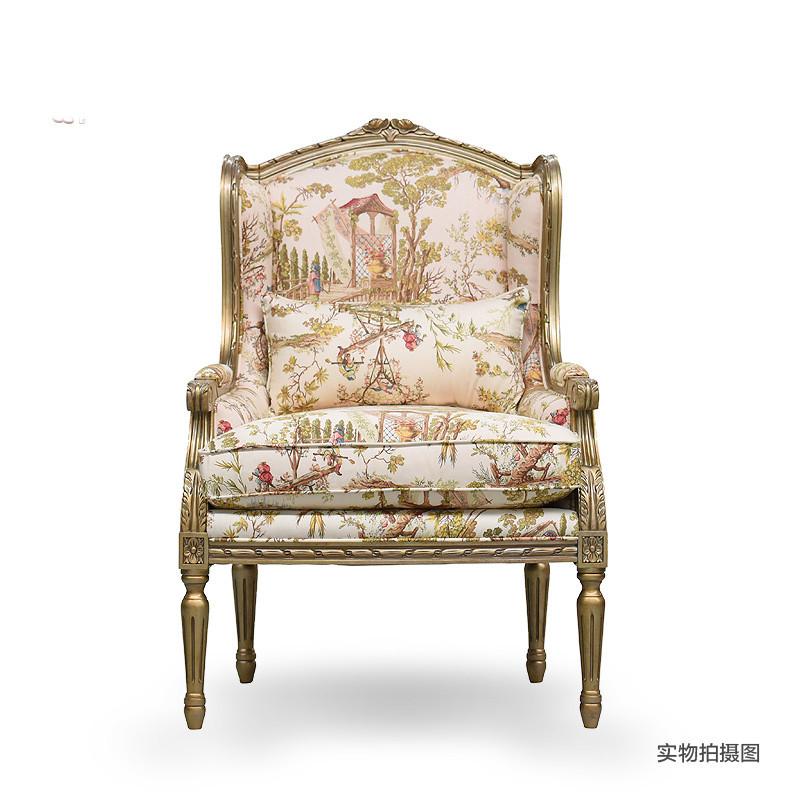 淮木 实木雕花布艺沙发单人沙发椅休闲椅老虎椅美式家具 6230 红色