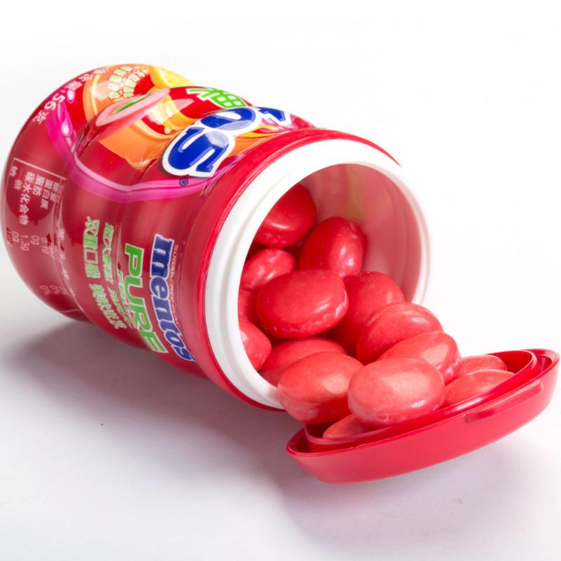 【苏宁超市】曼妥思透爽夹心无糖口香糖酸柠红果味56g瓶
