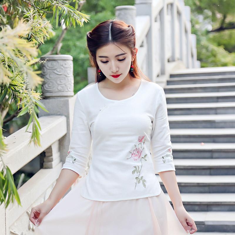 蔚缇2017夏季棉麻刺绣上衣套裙显瘦改良旗袍长裙套装两件套图片