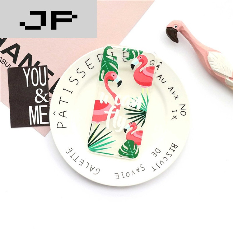 jp潮流品牌韩国小清新树叶火烈鸟iphone7手机壳苹果6s
