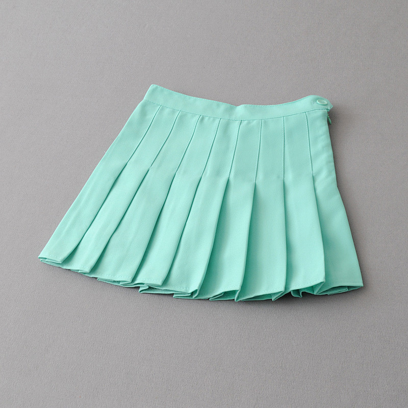 欧美夏季百褶裙半身裙高腰网球学院风夏白色短裙女裙裤a字裙 s 浅绿色
