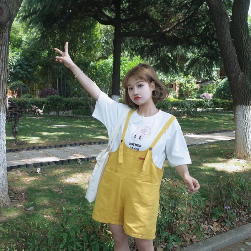 【新款2017】2017夏季新款韩版裤子学院风可爱背带裤宽松阔腿短裤百搭