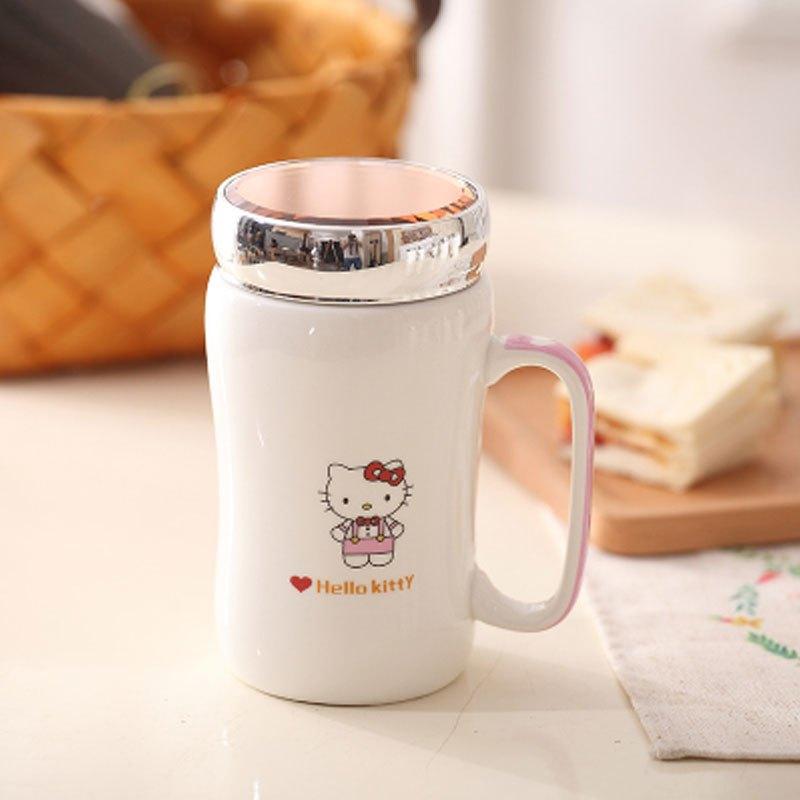 卡通可爱创意马克杯陶瓷杯子带盖带勺大容量办公情侣水杯杯子多款多色
