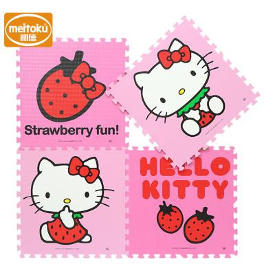 明德环保PE泡沫拼接地垫宝宝爬行垫游戏垫大号男孩女孩玩具 草莓KT60*60*1.9(4片/包)