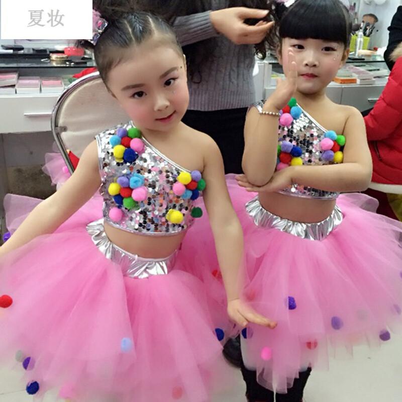 夏妆新款儿童亮片爵士演出服女童现代爵士舞蹈服装幼儿蓬蓬纱裙走秀