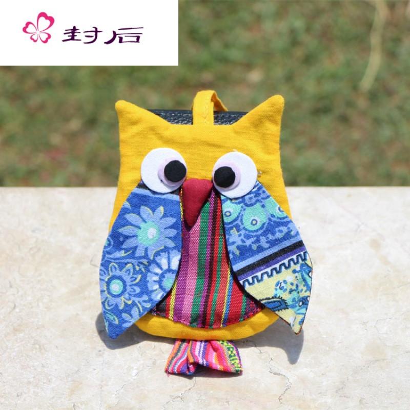 封后云南特色民族风布艺手工零钱包创意可爱猫头鹰手拿手腕包休闲包