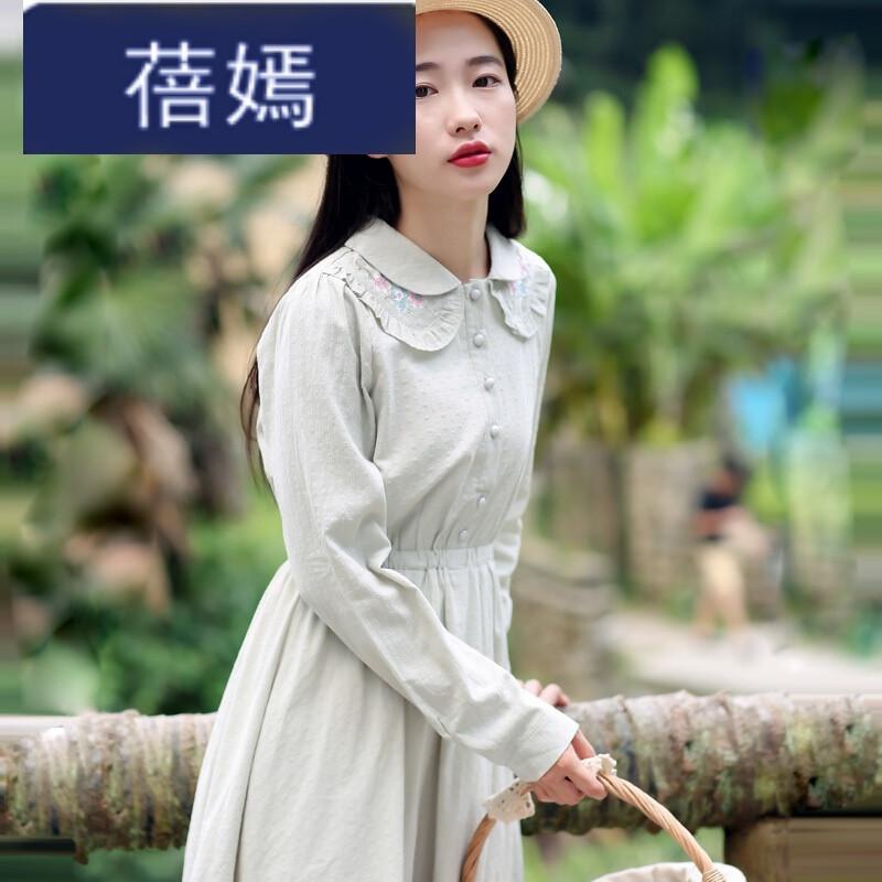 蓓嫣白色衬衫连衣裙女长袖秋装新款显瘦中长款文艺刺绣长裙子 m 灰图片