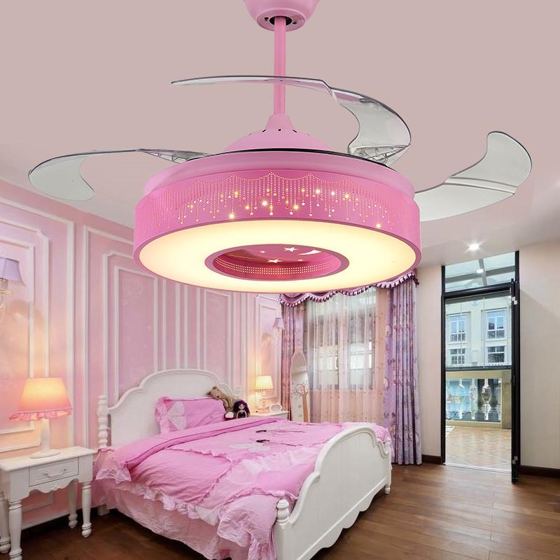 卡通粉色儿童吊扇灯 卧室风扇吊灯星星童话吊扇公主房间电风扇灯 36寸