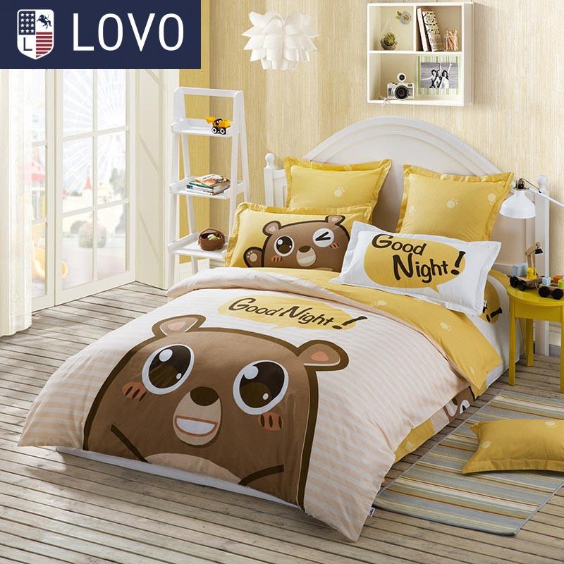 LOVO儿童全棉斜纹四件套巧克力熊 1.5m床 巧克力熊