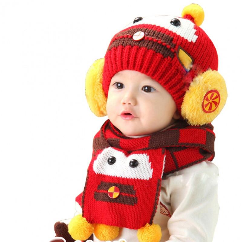 韩版儿童帽子宝宝帽子围巾两件套婴儿帽子围脖套装保暖毛线针织帽368