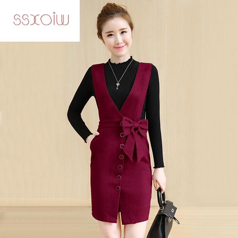 ssxoiw冬裙女中长款过膝毛衣裙子甜美冬季套装裙两件套毛呢连衣裙秋冬图片