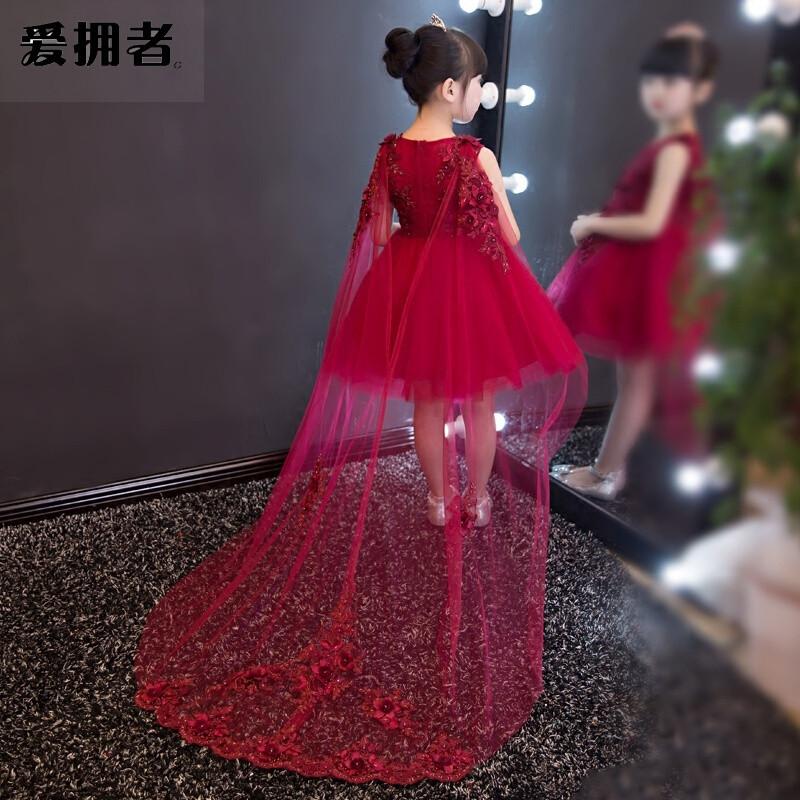 爱拥者儿童礼服公主裙大童女童钢琴主持人演出服花童生日婚纱可拆卸