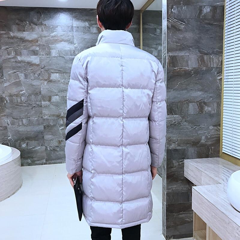 古莱登2017韩版古莱登2017韩版冬款男衣中长款斜条纹立领外套加厚百搭
