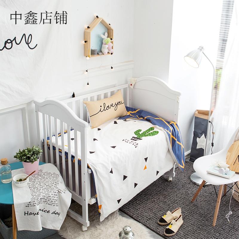 幼儿园被子三件套夏婴儿童床品仙人掌水洗棉宝宝午睡四件套 115*65