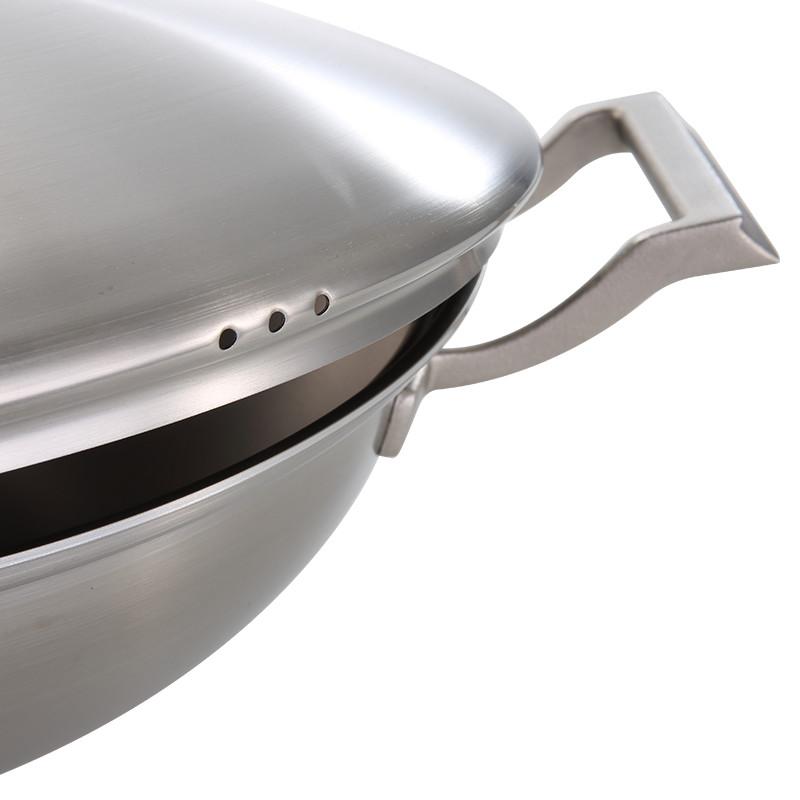 博友制钛 炒锅无涂层家用不生锈钛锅 平底锅电磁炉锅具 燃气灶适用 家宴T2-C301 30cm