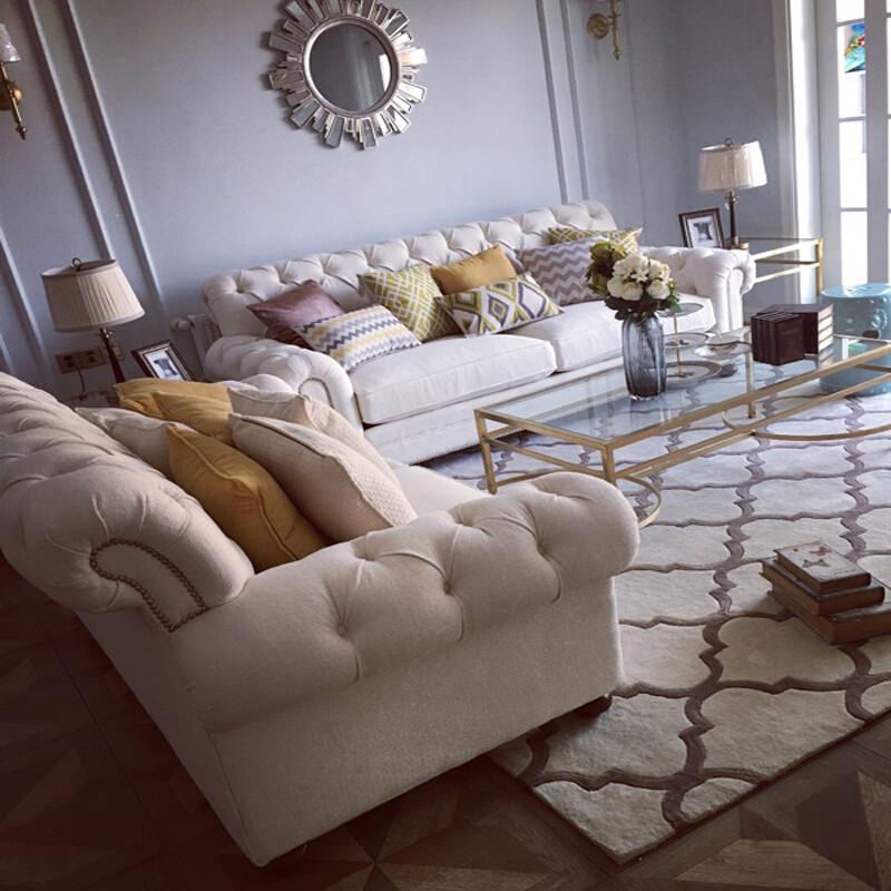 时尚欧式地毯客厅茶几沙发地毯卧室床边手工腈纶地毯满铺定制如图花色