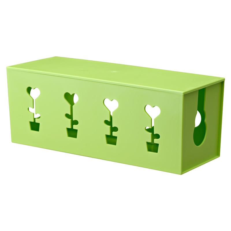 电线收纳盒塑料带盖插排整理盒电源线插座接线板集线盒 绿色花儿朵朵