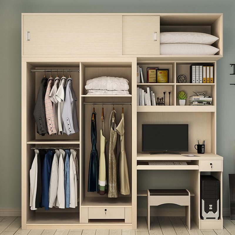 桌书柜衣柜一体双门三门连体衣柜台式家用衣柜电脑储物橱柜电脑桌组合