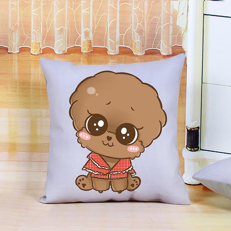 新款5印花十字绣抱枕可爱卡通动物小狗狗情侣一对客厅