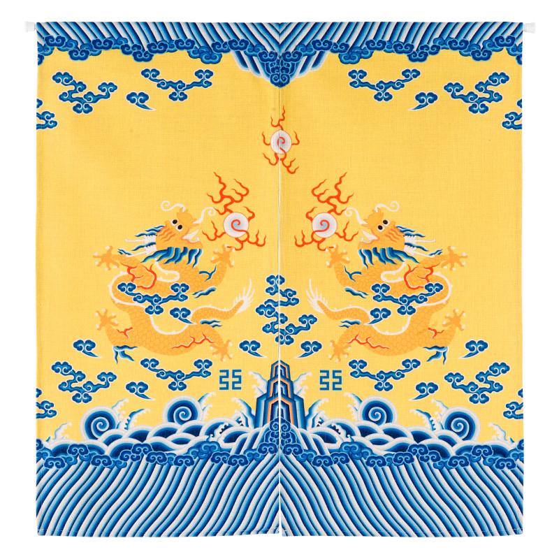 龙袍花纹门帘布艺门帘传统中国龙隔断威武新古典图腾中式棉麻帘子