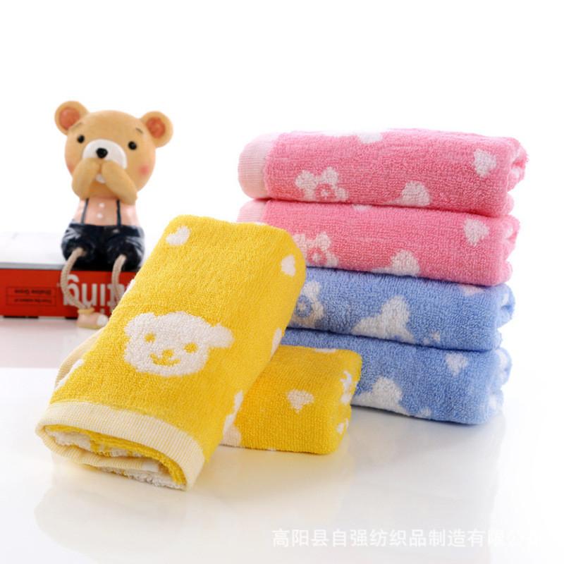 工厂批发幼儿园宝宝儿童毛巾纯棉卡通提花洗脸吸水小熊儿童毛巾 25*50