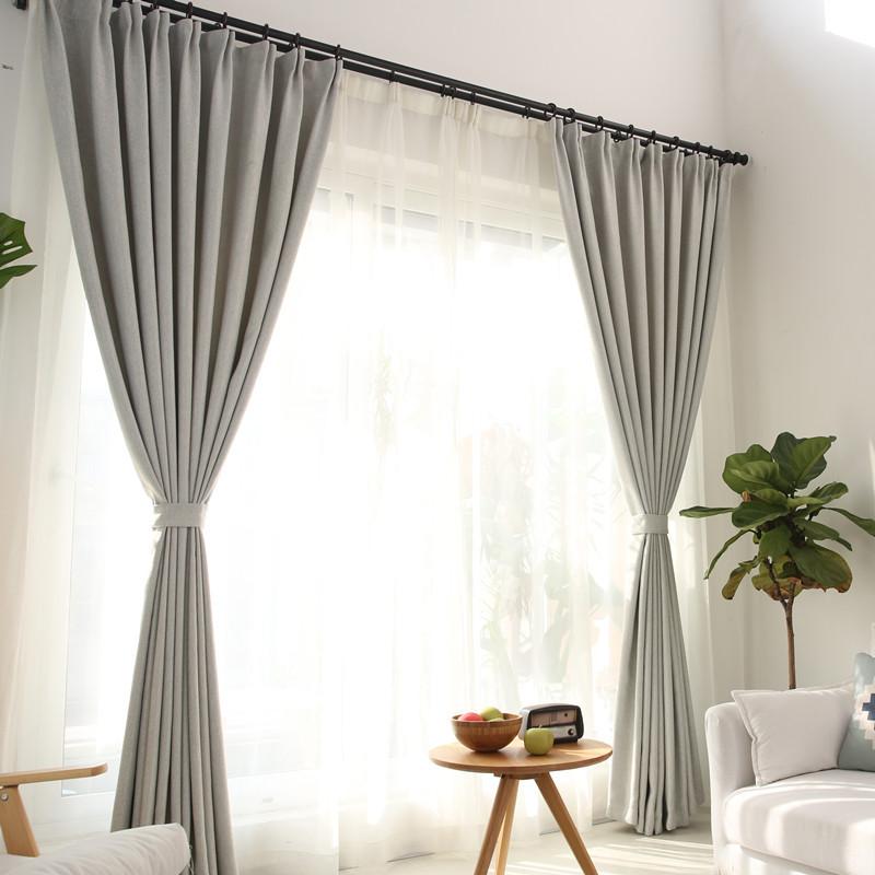 简约现代亚麻遮光窗帘布客厅卧室棉麻纯色窗帘成品包邮 样布【直接拍