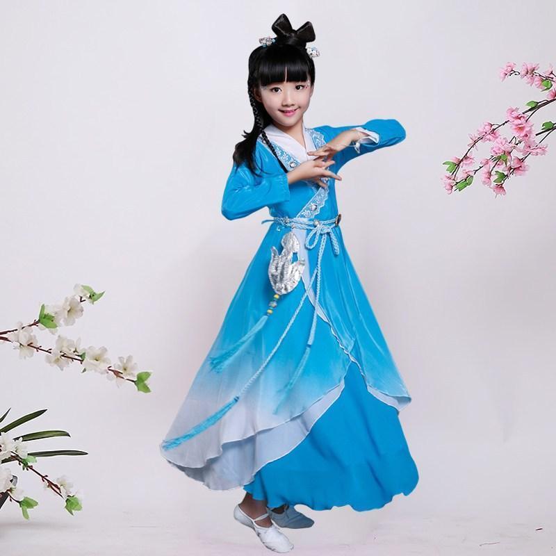 古装服装儿童仙女汉服女童公主贵妃唐装写真古筝碧瑶演出服_2 140cm