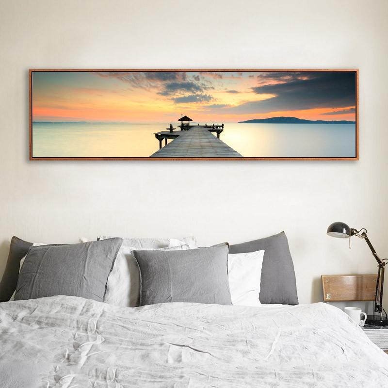 长横幅风景装饰画现代简约卧室床头挂画客厅沙发背景墙画_1