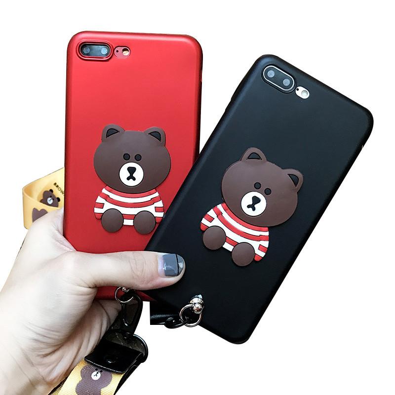 小米5s/note2手机壳卡通可爱条纹小熊红米4s软套挂脖绳红色高配版907