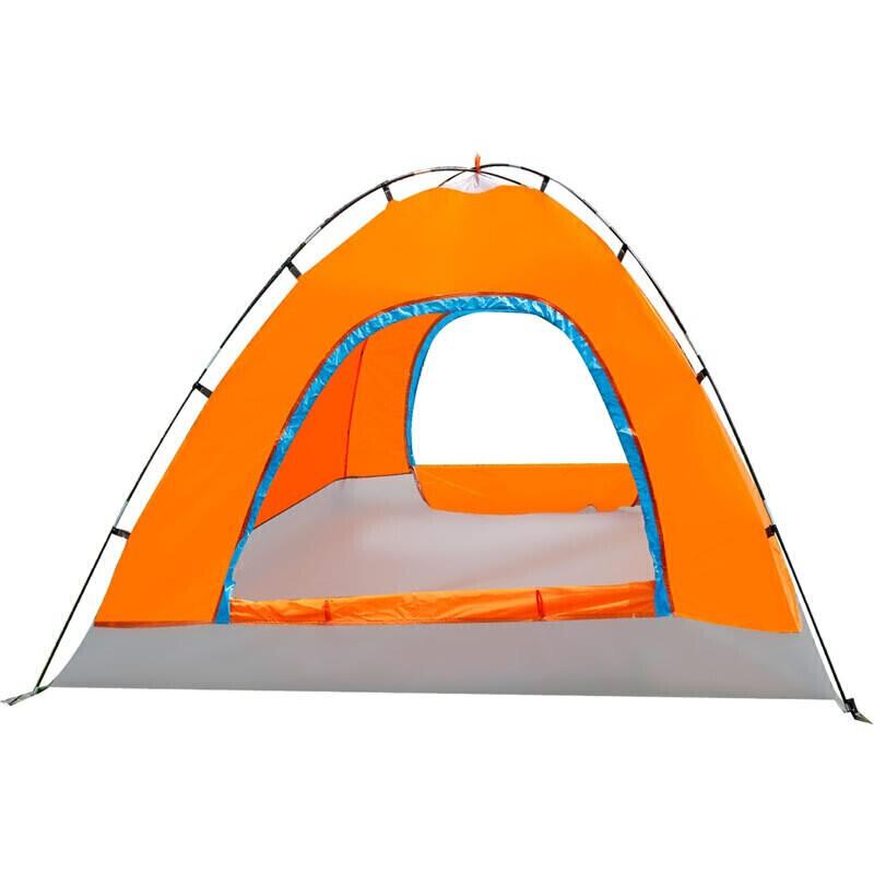 户外帐篷3-4双层防风露营帐篷湖畔橙色_10 橙色升级 送地席(厂家直送)