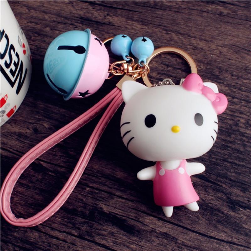 卡维妲卡通公仔可爱猫咪铃铛手带钥匙扣挂件汽车钥匙链包挂件_3
