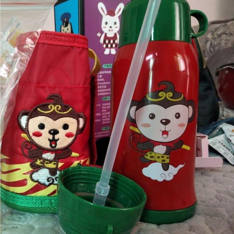 保温杯儿童水壶带吸管宝宝男女幼儿园学生不锈钢婴儿防摔两用水杯多色
