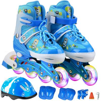 ENPEX 乐士溜冰鞋儿童全套装 儿童轮滑鞋 可调伸缩滑冰鞋男女直排轮 闪光 送头盔护具七件套