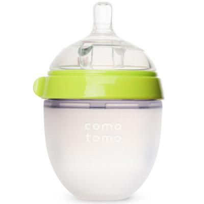 可么多么(como tomo)嬰兒防脹氣全硅膠奶瓶 綠色 150ml 寬口徑
