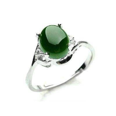 帛蘭梓韻 碧玉戒指和田玉925銀戒指碧綠寶石女款食指開口戒指指環