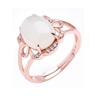 帛蘭梓韻 天然玉石和田玉戒指s925銀鍍玫瑰金鑲嵌白玉女款玉指環