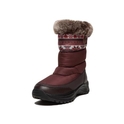 羽絨防水 女款咖啡酒紅色雪地靴 溫暖裹足