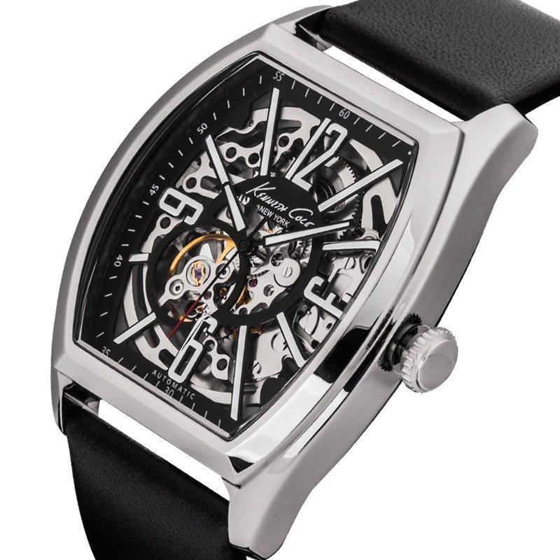 kennethcole男士手表时尚品质镂空自动机械表皮带款 酒桶型防水手表