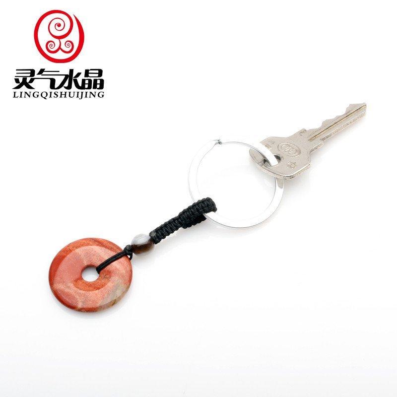 灵气水晶 红竹石红玛瑙平安扣钥匙扣挂件