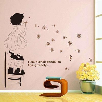 吹蒲公英女孩 儿童房幼儿园装饰墙贴纸客厅卧室内电视墙面背景墙壁