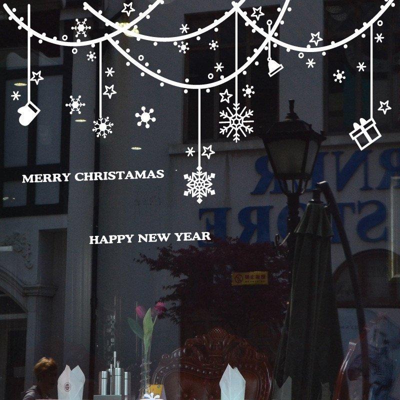 新年圣诞节墙贴画商场商店玻璃门橱窗布置装饰窗纸帘