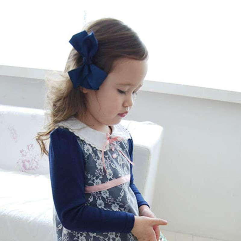 皮克斯童装 婴童头饰 蓝色缎带蝴蝶结女童发夹少女头饰发饰 p402003