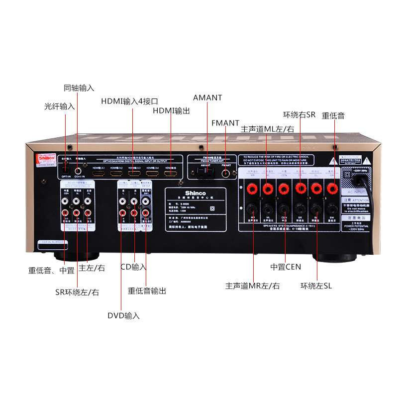 1家庭影院hdmi光纤dts同轴500w音响功放机
