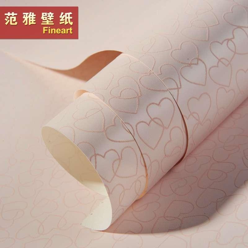 范雅壁纸纯纸壁纸卧室背景墙可爱卡通爱心儿童房墙纸欧雅6a22