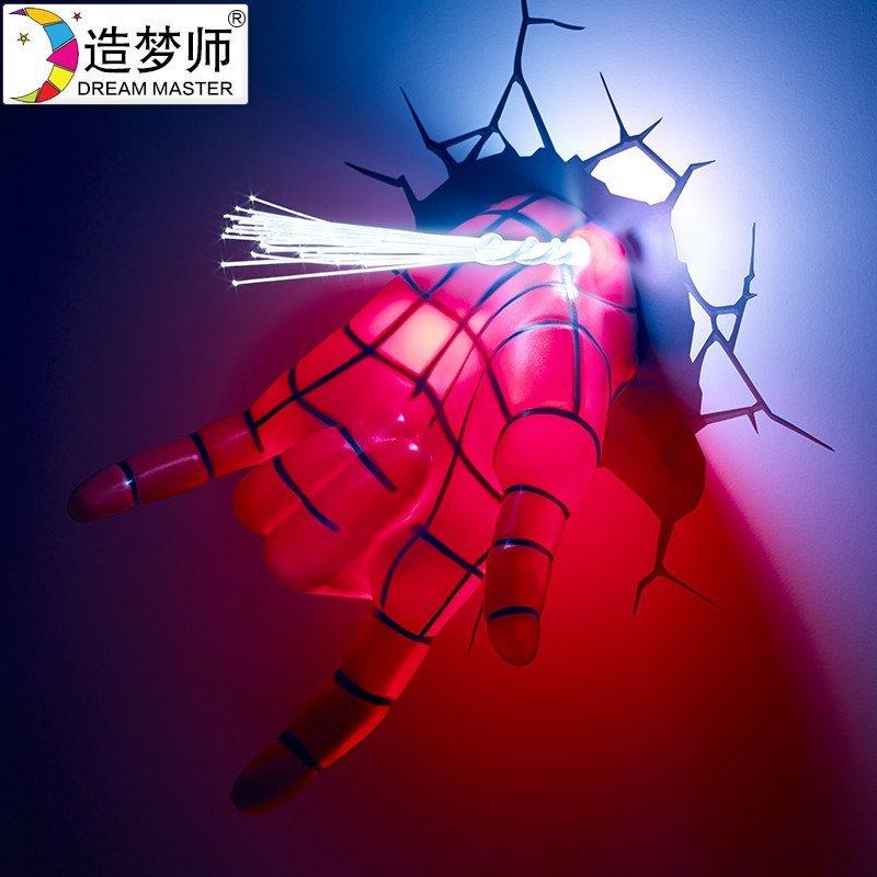 造梦师漫威复仇者联盟蜘蛛侠手灯壁灯3d裂纹墙纸壁纸装饰灯礼品灯图片