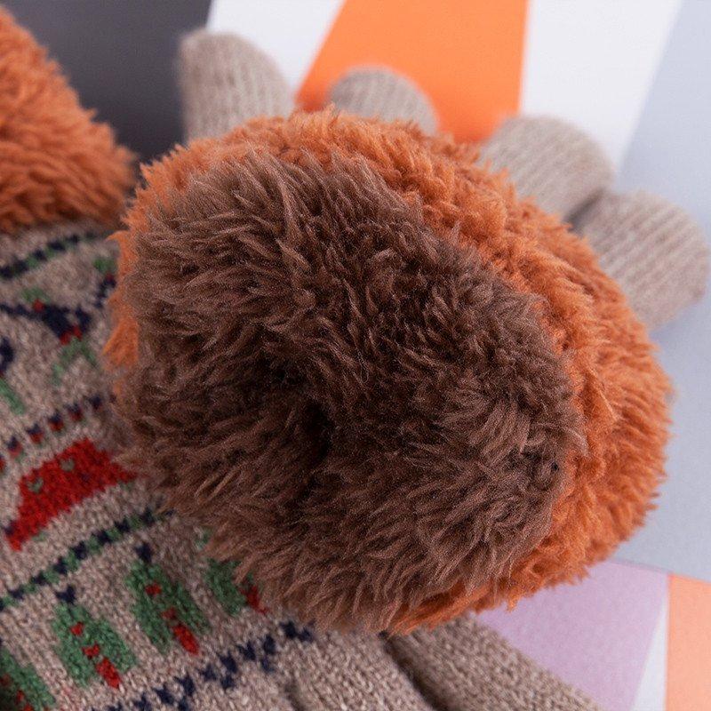 百瑞欧 适合大小孩手套男 冬天保暖加厚毛绒绒女儿童手套毛线韩版