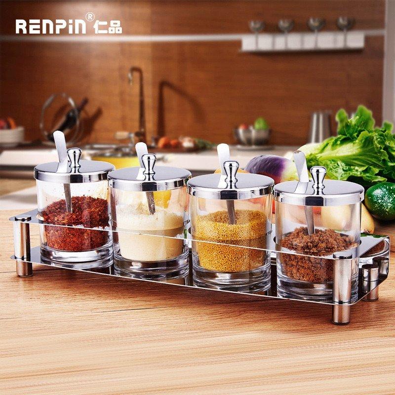 仁品 欧式不锈钢调味瓶罐调味罐套装厨房调料盒玻璃调料罐调味盒 rp-t