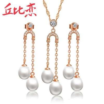 丘比戀 窈窕淑女 925銀玫瑰金色 天然珍珠套裝 韓版時尚飾品