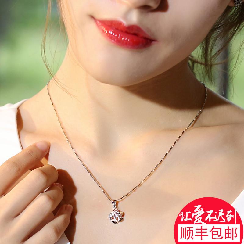 银斯妮s925银项链女锁骨链女生日韩版五角梅花银饰品吊坠礼物