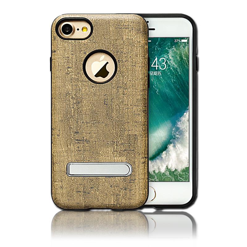 苹果iphone7手机后壳 仿木纹支架手机套